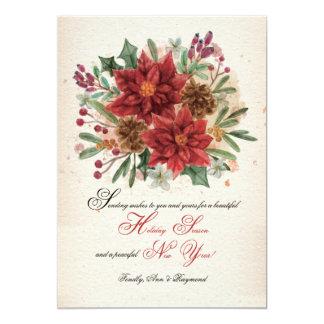 Watercolor Poinsettias and Pine Cones Card 13 Cm X 18 Cm Invitation Card
