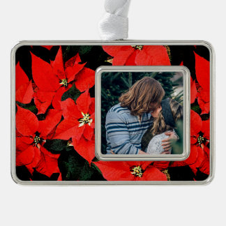 Watercolor Poinsettias w/ Custom Photo Inset Silver Plated Framed Ornament