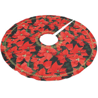 Watercolor Poinsettias w/ Faux Gold Celtic Knots Brushed Polyester Tree Skirt