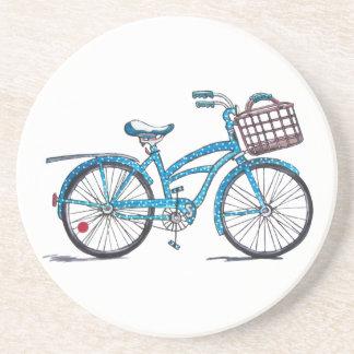 Watercolor Polka Dot Bicycle Drink Coaster