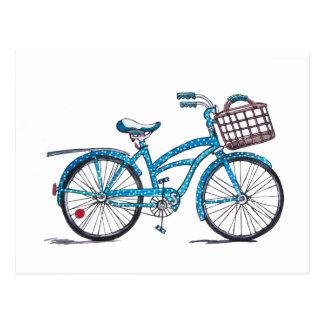 Watercolor Polka Dot Bicycle Postcard