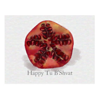 Watercolor Pomegranate Tu B'Shvat holiday postcard
