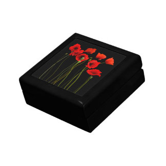 Watercolor Poppies, black