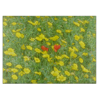 Watercolor poppies cutting board