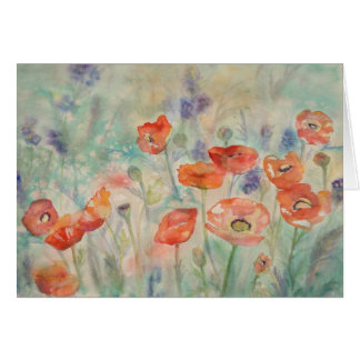 Watercolor Poppies in a Field Card
