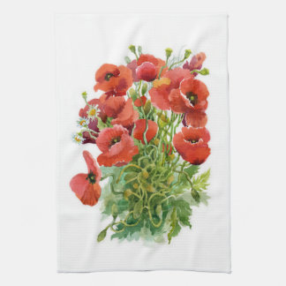 Watercolor Poppies Kitchen Towel