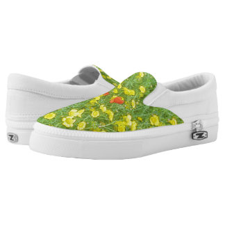Watercolor poppies slip on shoes