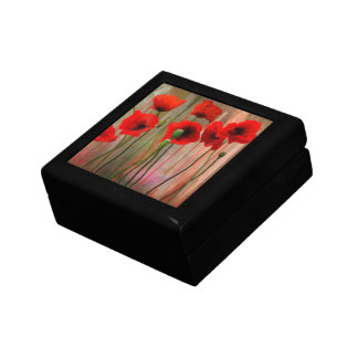 Watercolor Poppies Small Square Gift Box