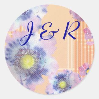 Watercolor Poppies Wedding Round Sticker