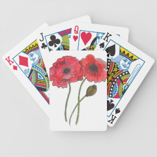 Watercolor Poppy Bicycle Playing Cards