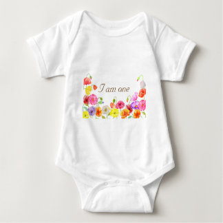 Watercolor poppy field baby bodysuit