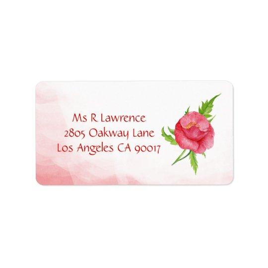 Watercolor Poppy Flower Address Labels