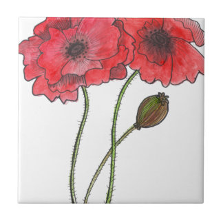 Watercolor Poppy Tile