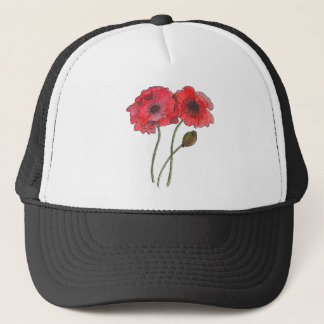 Watercolor Poppy Trucker Hat