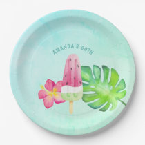 Watercolor Popsicle Summer Birthday Party Paper Plate