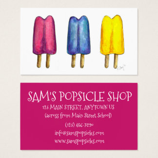 Watercolor Popsicle Twin Pop Popsicles Ice Lolly Business Card