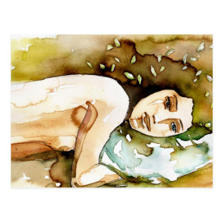 watercolor portrait of a sensual woman. postcards