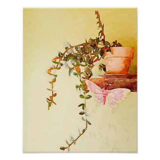 Watercolor Potted Plant and Butterfly Poster