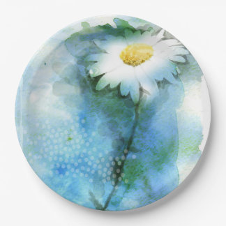 Watercolor Pretty Daisy - All Options Paper Plate