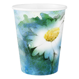 Watercolor Pretty Daisy Paper Cup