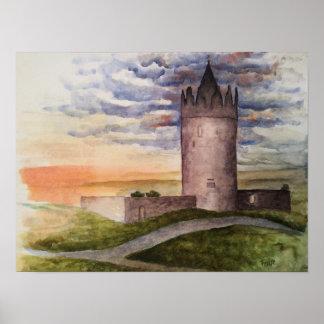 Watercolor print of Irish castle, Doolin