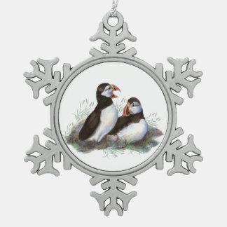 Watercolor Puffin Ocean Bird Family  Wildlife Pewter Snowflake Decoration