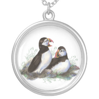 Watercolor Puffin Ocean Bird Family  Wildlife Silver Plated Necklace