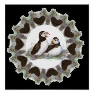 Watercolor Puffins with Hearts for Puffin Fans Poster