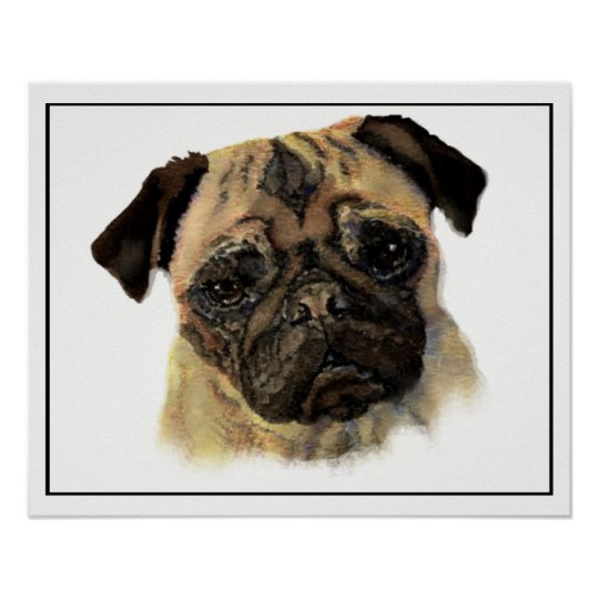 Watercolor Pug Dog Pet Animal Art Poster