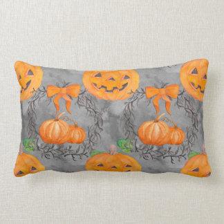 Watercolor Pumpkin Pattern Lumbar Cushion