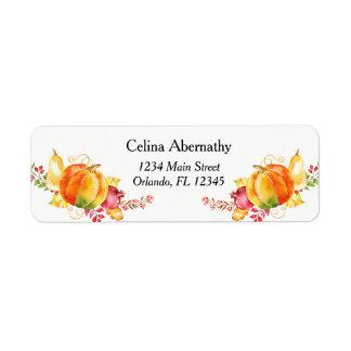 Watercolor Pumpkin Return Address Label
