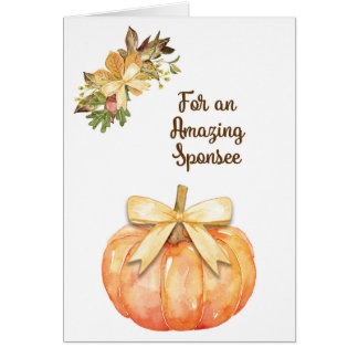 Watercolor Pumpkin Thanksgiving Card for Sponsee