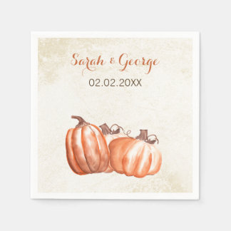 watercolor pumpkins Fall wedding napkin Disposable Serviette