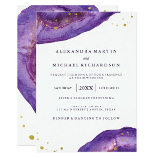 Watercolor Purple and Gold Geode Wedding II Card