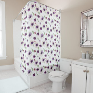 Watercolor Purple Anemone Flowers Shower Curtain