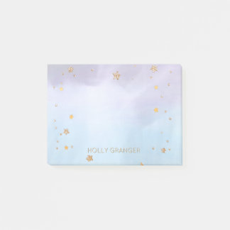 Watercolor Purple Blue Gold Stars | Monogram Name Post-it Notes