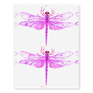 Watercolor purple dragonfly temporary tattoos