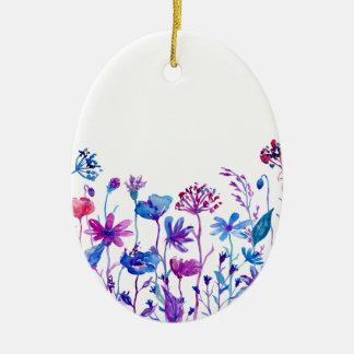 Watercolor Purple Field Flowers Ceramic Oval Decoration