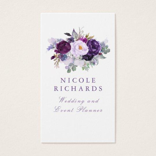Watercolor Purple Floral Elegant Bohemian Business Card
