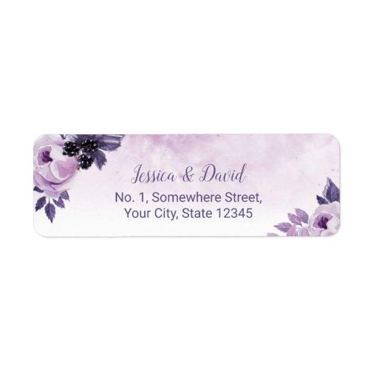 Watercolor Purple Floral Elegant Spring Wedding