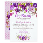 Watercolor Purple Floral Modern Baby Shower Card
