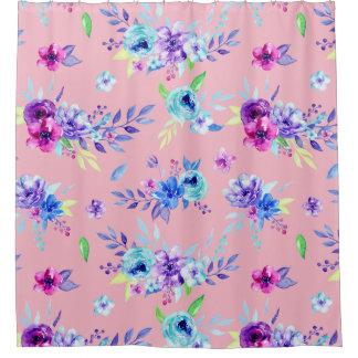 Watercolor purple flower pattern shower curtain