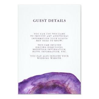 Watercolor Purple Geode Wedding Guest Information Card