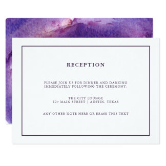 Watercolor Purple Geode | Wedding Reception Card