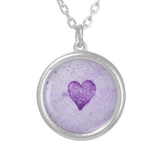 Watercolor Purple Heart Personalized Necklace