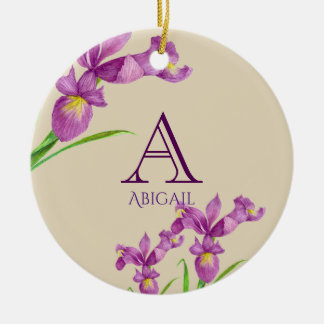 Watercolor Purple Iris Botanical Floral Monogram Christmas Ornament