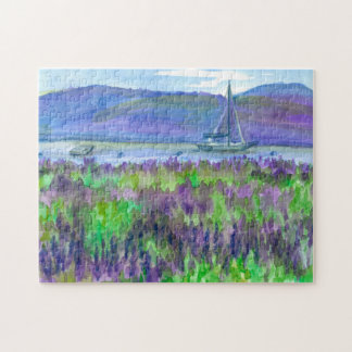 Watercolor Purple Lupines Wildflowers Sailboat Jigsaw Puzzle