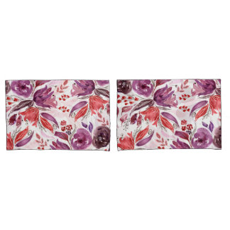 Watercolor Purple + Pink Floral Pillow Cases