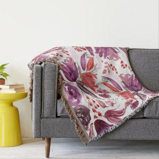 Watercolor Purple + Pink Floral Throw Blanket