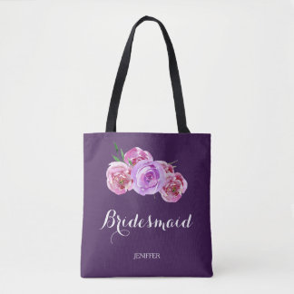Watercolor purple plum bouquet wedding bridesmaid tote bag